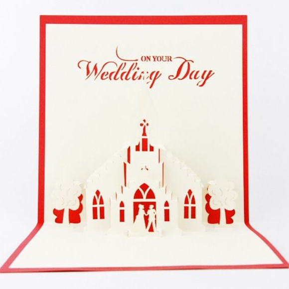 *WEDDING* Red 3D Pop-Up Marriage Greeting Card